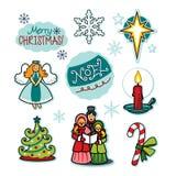 Insieme dell'illustrazione di acclamazione di festa dei carolers di Natale Immagine Stock Libera da Diritti