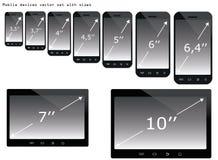 Insieme dell'illustrazione di dimensioni dei dispositivi mobili Immagini Stock