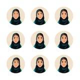Insieme dell'illustrazione di espressione facciale della donna Immagine Stock