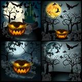 Insieme dell'illustrazione di Halloween con Jack O'Lantern Fotografie Stock Libere da Diritti
