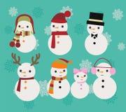 Insieme dell'illustrazione di Natale dei pupazzi di neve Fotografia Stock
