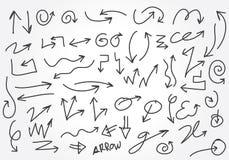 Insieme dell'illustrazione di riserva delle frecce disegnate a mano Illustrazione di Stock