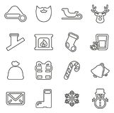 Insieme dell'illustrazione di Santa Claus Icons Thin Line Vector illustrazione di stock