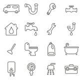 Insieme dell'illustrazione di servizio dell'impianto idraulico o di vettore di Icons Thin Line dell'idraulico Fotografia Stock Libera da Diritti