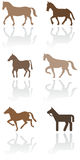 Insieme dell'illustrazione di simbolo del cavallino o del cavallo. Immagini Stock Libere da Diritti