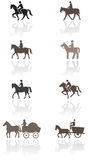 Insieme dell'illustrazione di simbolo del cavallino o del cavallo. Fotografia Stock