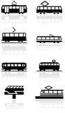 Insieme dell'illustrazione di simbolo del treno Immagini Stock