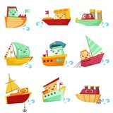 Insieme dell'illustrazione di Toy Boats With Faces Colorful royalty illustrazione gratis