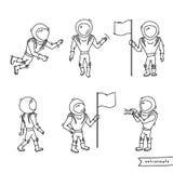 Insieme dell'illustrazione di vettore dell'astronauta Fotografia Stock Libera da Diritti