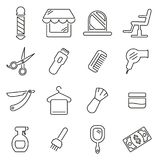 Insieme dell'illustrazione di vettore di Barber Equipment Icons Thin Line & di Barber Shop Fotografia Stock