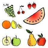 Insieme dell'illustrazione di vettore dei frutti differenti Fotografia Stock Libera da Diritti