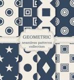 Insieme dell'illustrazione di vettore dei modelli geometrici senza cuciture Fotografia Stock
