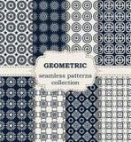 Insieme dell'illustrazione di vettore dei modelli geometrici senza cuciture Fotografia Stock Libera da Diritti