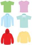 Insieme dell'illustrazione di vettore dei vestiti illustrazione di stock