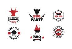 Insieme dell'illustrazione di vettore del BBQ Fotografia Stock Libera da Diritti