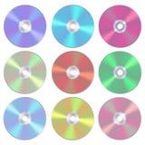 Insieme dell'illustrazione di vettore del CD o del DVD in bianco isolato del compact disc Stile realistico Fotografia Stock