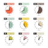 Insieme dell'illustrazione di vettore del fronte di orologio Immagini Stock Libere da Diritti