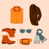 Insieme dell'illustrazione di vettore dell'abbigliamento degli accessori di modo e degli uomini di stile Fotografie Stock Libere da Diritti