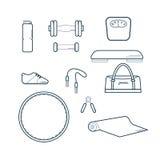 Insieme dell'illustrazione di vettore delle icone di forma fisica Fotografie Stock