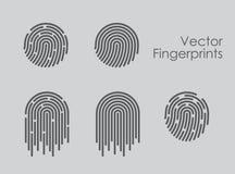 Insieme dell'illustrazione di vettore delle icone dell'impronta digitale su fondo grigio fotografia stock libera da diritti