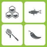 Insieme dell'illustrazione di vettore delle icone semplici del giardino e dell'azienda agricola Elementi favo, pesce, miele, pepe Fotografia Stock