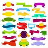 Insieme dell'illustrazione di vettore delle insegne colorate del nastro Rotoli blu, verdi, rossi, gialli, rosa nello stile piano illustrazione vettoriale
