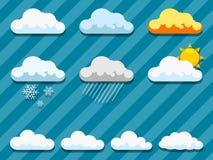 Insieme dell'illustrazione di vettore delle nuvole Immagini Stock Libere da Diritti