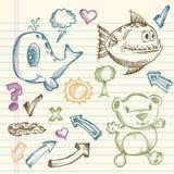 Insieme dell'illustrazione di vettore di Doodle di abbozzo Immagini Stock