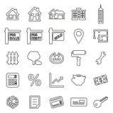 Insieme dell'illustrazione di vettore di Icons Thin Line dell'agente immobiliare o del mercato immobiliare illustrazione vettoriale