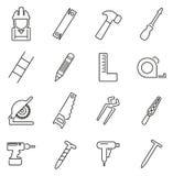 Insieme dell'illustrazione di vettore di Icons Thin Line del carpentiere o del falegname o del tuttofare Fotografia Stock