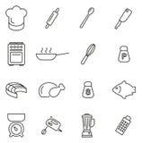 Insieme dell'illustrazione di vettore di Icons Thin Line del cuoco unico o di cottura Fotografia Stock