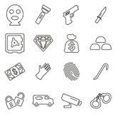 Insieme dell'illustrazione di vettore di Icons Thin Line del ladro o del ladro o del truffatore o dello scassinatore royalty illustrazione gratis