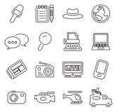 Insieme dell'illustrazione di vettore di Icons Thin Line del reporter o del giornalista Fotografia Stock