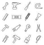 Insieme dell'illustrazione di vettore di Icons Thin Line del riparatore o del tuttofare Immagini Stock