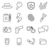 Insieme dell'illustrazione di vettore di Icons Thin Line delle detective o dell'agente investigativo Fotografia Stock