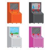 Insieme dell'illustrazione di vettore isolato gabinetto del videogioco arcade di stile di arte del pixel Fotografia Stock