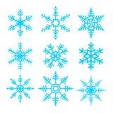 Insieme dell'illustrazione di vettore di simbolo di vettore dei fiocchi di neve illustrazione di stock