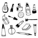 Insieme dell'illustrazione disegnata a mano del profilo femminile dei cosmetici Immagini Stock