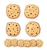 Insieme dell'illustrazione dolce dei biscotti Biscotti di farina d'avena con cioccolato di varia forma Illustrazione di vettore I Fotografia Stock Libera da Diritti