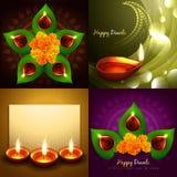 Insieme dell'illustrazione felice del fondo di diya di diwali royalty illustrazione gratis