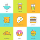Insieme dell'illustrazione piana dell'alimento di vettore Icone multicolori della prima colazione Fotografia Stock Libera da Diritti