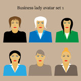 Insieme dell'illustrazione piana di vettore di progettazione del ritratto femminile dell'icona di profilo della donna di affari Fotografie Stock Libere da Diritti