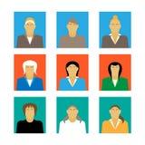 Insieme dell'illustrazione piana di vettore di progettazione del ritratto femminile dell'icona di profilo della donna di affari Immagini Stock