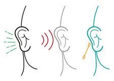 Insieme dell'illustrazione umana dell'orecchio nel profilo Art Style Clipart editabile Fotografia Stock Libera da Diritti