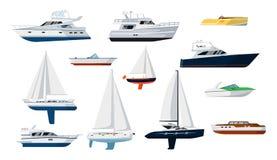 Insieme dell'imbarcazione a motore e della barca a vela illustrazione vettoriale