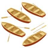 Insieme dell'imbarcazione a remi Barca di legno con le pagaie isolate sopra bianco Illustrazione isometrica piana di vettore 3d Fotografia Stock Libera da Diritti