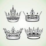 Insieme dell'immagine reale delle corone Royalty Illustrazione gratis