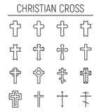 Insieme dell'incrocio cristiano nella linea stile sottile moderna illustrazione vettoriale