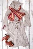 Insieme dell'indumento alla moda delle donne, vista superiore immagini stock libere da diritti