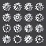 Insieme dell'ingranaggio dell'argento di pendenza per progettazione grafica di informazioni Immagini Stock